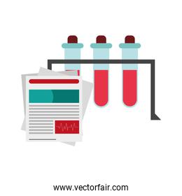 test tube and medical history icon