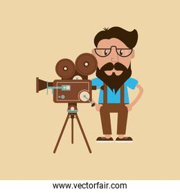hipster man and retro film projector image