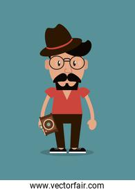 hipster man and photographic camera image