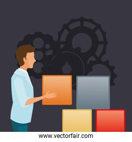 person with workforce related icons image