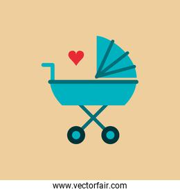 baby stroller with cartoon heart image
