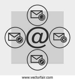 message envelope and at symbol icons