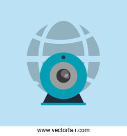earth globe diagram with webcam icon
