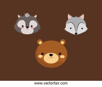 bear with fox and skunk icons image