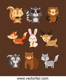 fox rabbit deer squirrel raccoon beaver skunk and bear icons ima