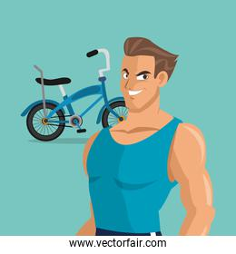 bike and cyclist icons image