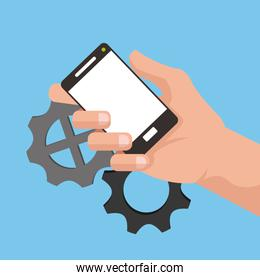 hand holding cellphone with gears in the background image