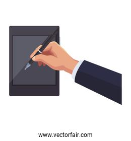 Business hand using tablet