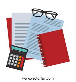 Documents with glasses and calculator