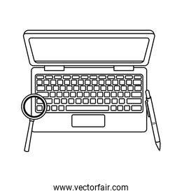 Laptop and magnifying glass with pen in black and white