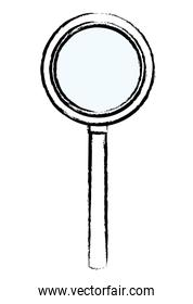 Magnifying glass isolated sketch