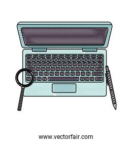 Laptop and magnifying glass with pen scribble