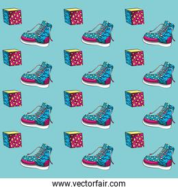 Women boot and cubes background