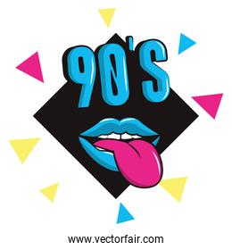 90s mouth with tongue out