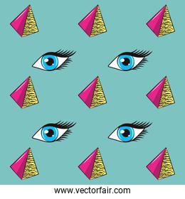 90S eyes and triangles background