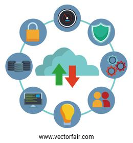 Cloud computing and database icons
