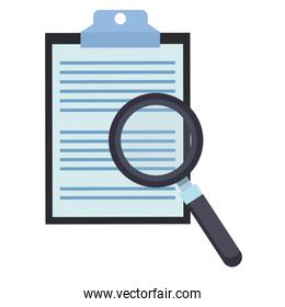 Magnifying glass on clipboard