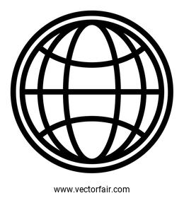Global sphere symbol in black and white