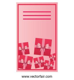 Valentines day card with gift boxes