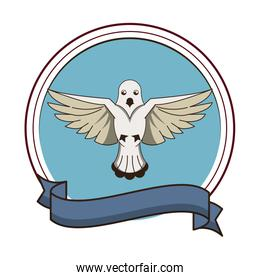 Dove flying symbol round emblem