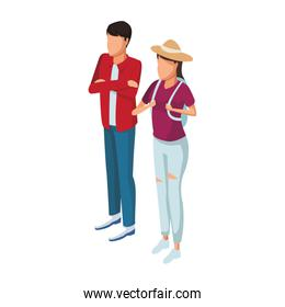 Couple with backpack and hat