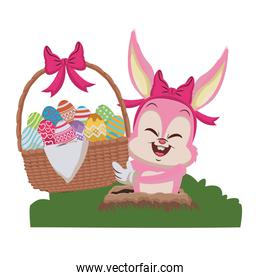 Rabbit holding basket with easter eggs