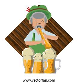 Bavarian man with trumpet and beers