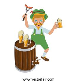 Bavarian man with beer cups and sausage