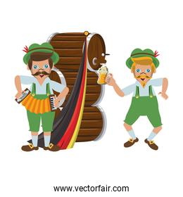 Bavarian mens with barrels and accordion