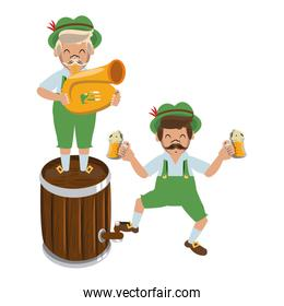 Bavarian mens with barrel and trumpet