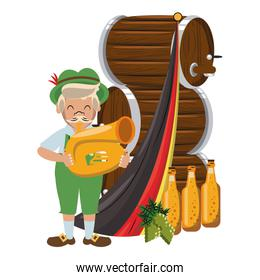 Bavarian man with trumpet and beer barrels