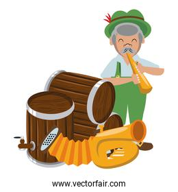 Bavarian man with trumpet and beer barrels isolated icon