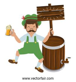 Bavarian man with wooden sign and barrel