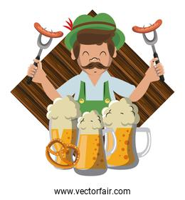Bavarian man with sausages and beers