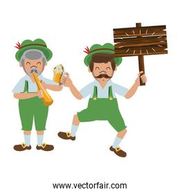 Bavarian mens with beer and wooden sign