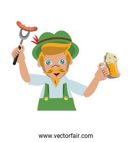 Bavarian man with sausage and beer