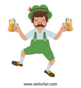 Bavarian man holding beer cups