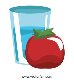 Tomato and water glass