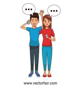 couple talking and texting with smartphone