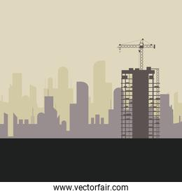 Cityscape with construction zone