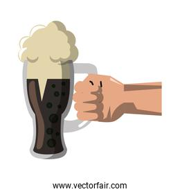 Hand holding wooden beer cup