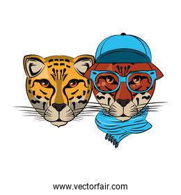 isolated hipster leopards cool sketch