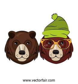 Hipster bears cool sketch over white