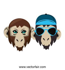 isolated hipster monkeys cool sketch