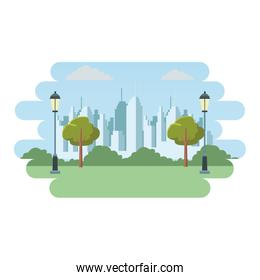 Cityscape from park