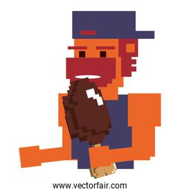 Videogame pixelated gangster