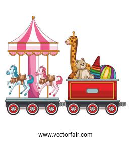 Train wagon with toys and carrousel