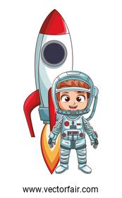 astronaut stand up girl comic character