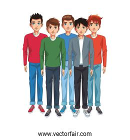 friends young mens cartoon over white