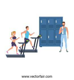 fitness people training and lockers